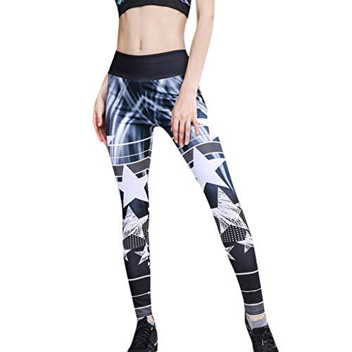TianWlio Leggings Damen Sport Fitness Hohe Taillen Yoga Stern Druck Spleiß Legging Laufende Sporthose Hose