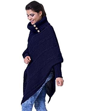 Zeta Ville - Poncho de ochos cuello vuelto - mangas murciélago - para mujer 956z