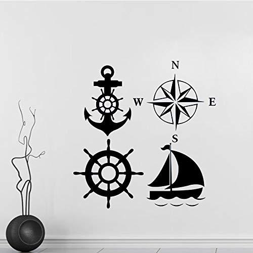 HFWYF Neue nautische Kreuzfahrtschiff Werkzeug Wandaufkleber Mode kreative abnehmbare 58x60cm -