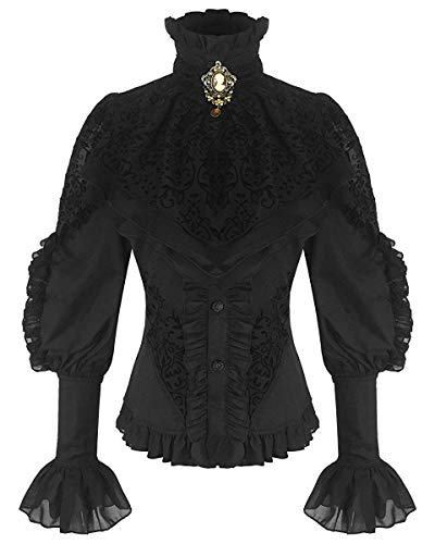 Schwarze viktorianische Damen Langarm-Bluse mit Jabot und oranger Brosche (21099), - Original-halloween-kostüm-themen
