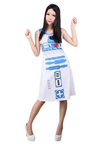 ValuePack R2D2 Kleid Damen Ärmellos Skater-Kleid SW Cosplay Kostüm Roboter Fancy Dress Kleidung Merchandise für Mädchen