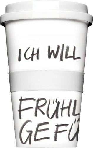 Kaffee to Go Becher aus Porzellan Ich will jetzt Frühlingsgefühle weiß schwarz