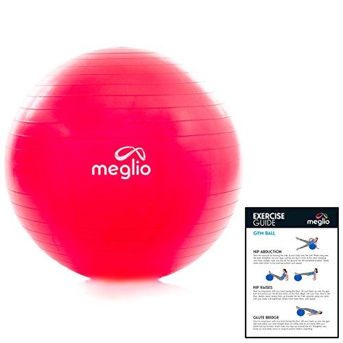 Meglio, palla da ginnastica antiscoppio, 65 cm/75 cm, pompa a pedali e guida agli esercizi incluse (lingua italiana non garantita), rosa, 65 cm