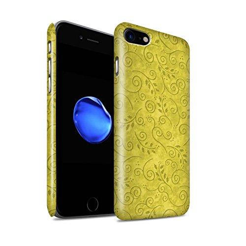 STUFF4 Glanz Snap-On Hülle / Case für Apple iPhone 8 / Rosa Muster / Blatt-Strudel-Muster Kollektion Gelb