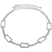 194b46ff583c Ceinture Femme Fantaisie Métal, strass Cristal Diamante Brillant Chaîne  Tour de Taille Réglable Argenté