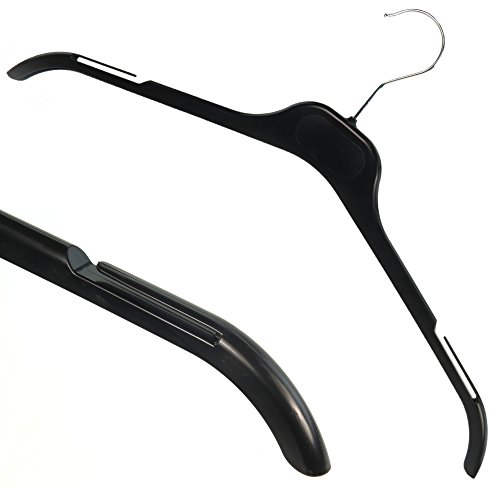 Hangerworld 60 Perchas 43cm Plástico Negro con Ranuras en los Hombros para Vestidos Camisas y Blusas