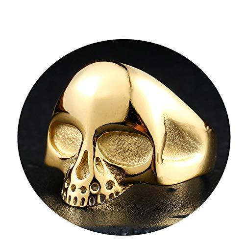 Amody 22MM Anillo Punk gótico para Hombre Cabeza de cráneo Pulido Alto Oro Anillo de Acero Inoxidable para Hombre Tamaño 17