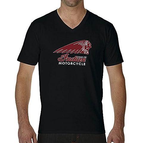 Indian Motorcycle American Bikers Logo Black Mens T-Shirt V Neck X Large