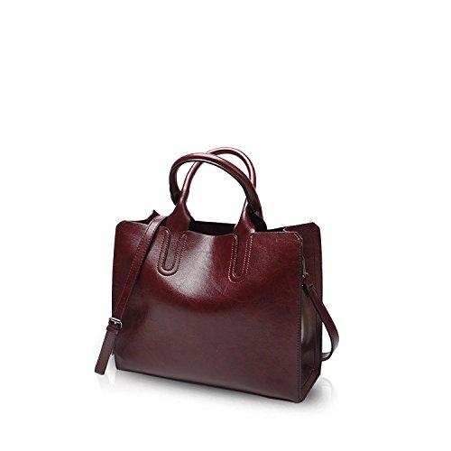 NICOLE&DORIS Mode Damen Handtaschen Umhängetasche Schultertaschen Henkeltaschen Messenger Bag Tasche Crossbody Bag Tote Wasserdicht Dauerhaft PU Rot Rotwein