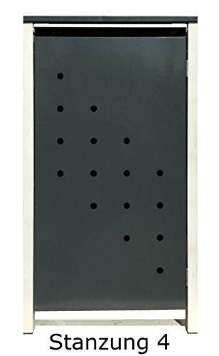 BBT@ | Hochwertige Mülltonnenbox für 1 Tonne mit 120 Liter mit Klappdeckel in Silber / Aus stabilem pulver-beschichtetem Metall / Stanzung 4 / In verschiedenen Farben sowie mit unterschiedlichen Blech-Stanzungen erhältlich / Mülltonnenverkleidung Müllboxen Müllcontainer - 4