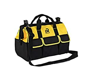 """Rigsafe Tool Bag 18"""" Large Reinforced with Metal Accessories Tool Bag - Yellow, Black"""