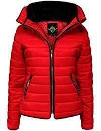 CANDY FLOSS NEW LADIES WOMENS QUILTED PADDED PUFFER BUBBLE FUR COLLAR WARM THICK JACKET COAT - RED/18