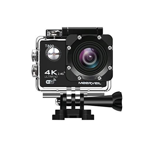 Meerveil T800 4K Action Kamera WiFi Sport Kamera Camcorder 30M Wasserdicht Unterwasserkamera Helmkamera 16MP 170 Grad Weitwinkel mit 2 1050mAh Akkus und Accessoires Kits