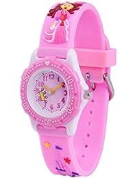 fc279302a963 WOLFTEETH Analog Grade School Niño Niños Reloj con Segunda Mano 3D Princesa  Correa Blanco Dial Agua Resistente Chica Reloj Rosa…