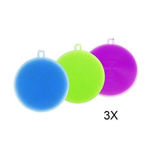 Preisvergleich Produktbild Packung mit 3 runde Form,  Multifunktionale Wasch Wäscher,  Spülbürste Schwamm Handtuch Wäscher Geschirrreinigung Schwamm,  Obst,  Gemüse,  zufällige Farbe