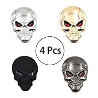 HPiano Skull Red Eyes Sticker 4 Pcs (Black, silver, matte black, gold) Metal Badge 3D Car Decal Sticker Sign Bumper, Punk 3D Skull Skeleton Badge Car/Motorcycle Metal Sticker Cool Decal