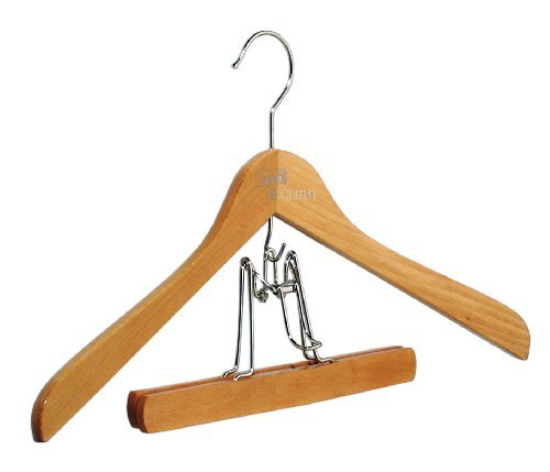 Buche Kleiderbügel (5 x pieperconcept Kleiderbügel Record mit Unterhänger Buche natur, Hanger,)