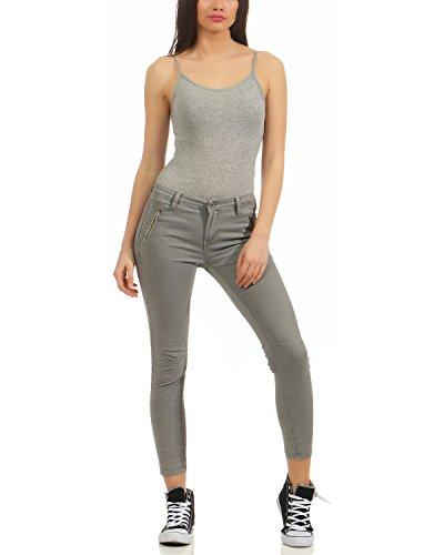 ZARMEXX Chino Jeans da donna Pantaloni stretch jeans Pantaloni skinny da donna Slimline Hipsters Skinny Jeans 6243 (XS - XL) Grigio chiaro