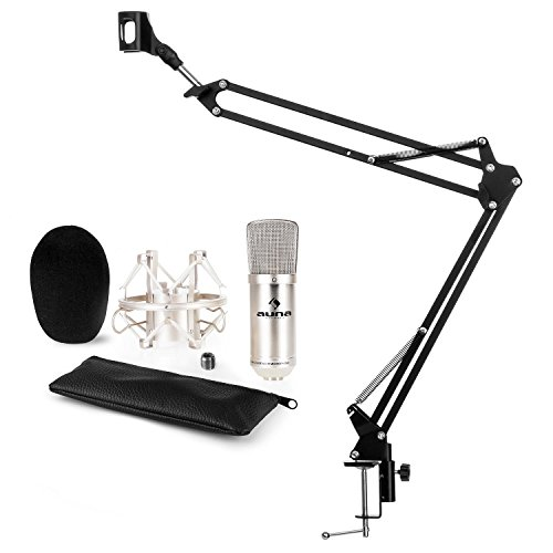 auna CM001S Mikrofon-Set V3 Kondensatormikrofon + Mikrofonarm (XLR-Mikrofon, Niere, Mikrofonspinne, Windschutz, faltbarer Mikrofonarm mit Tischplatten-Klemmschraube) silber