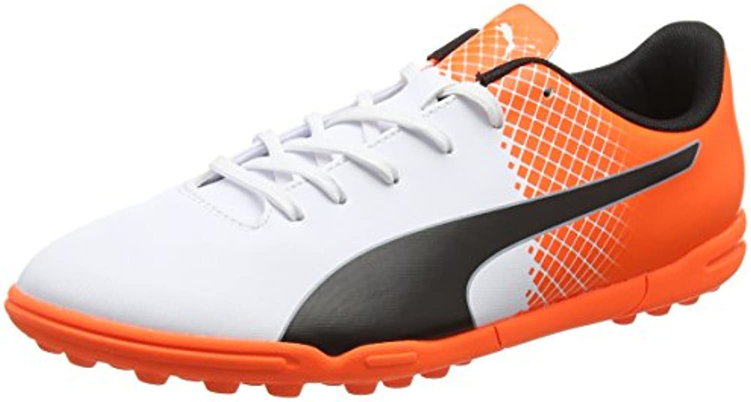 Puma evoSpeed 5,5 TT Botas de Fútbol, Black/White Shocking Orange, 10,5