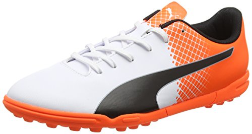 Puma Evospeed 5.5 TT, Scarpa Da Calcio Uomo, Multicolore (Puma White/Puma Black/Shocking Orange), 11