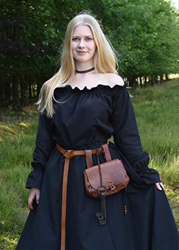 Mittelalterlicher Rock, weit ausgestellt, schwarz aus schwerer Baumwolle – Mittelalter, LARP, Wikinger Größe XL - 3