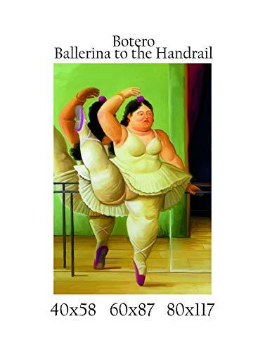 Impresión de lienzo Canvas 100% fabricado en Italia–Botero–Ballerina to the Handrail efecto pintado Idea regalo casa marco cocina sala de estar