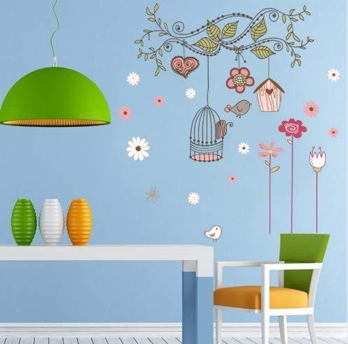 CCM Peel and Stick wandtattoos PVC wandaufkleber Baby raumdekorationen zooyoo7102 Blume vogelkäfig Haus Aufkleber 50x70 -