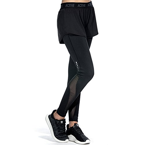 CtopoGo Damen 2 in 1 Sport Hose Mesh Running Leggings Pants mit einem Short für Sport Fitness Yoga Gymnastik Training (Shorts Leggings Strumpfhose)