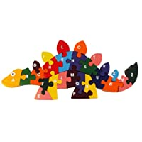EcofriendlyBee Wooden Dinosaur Alphabetic ABC Childrens Jigsaw Puzzle