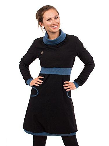 Viva la Mama Umstandsmode Umstandskleid Winter Langarm Stillkleid Baumwolle elegant Mutter Stillmode Neele schwarz blau - S