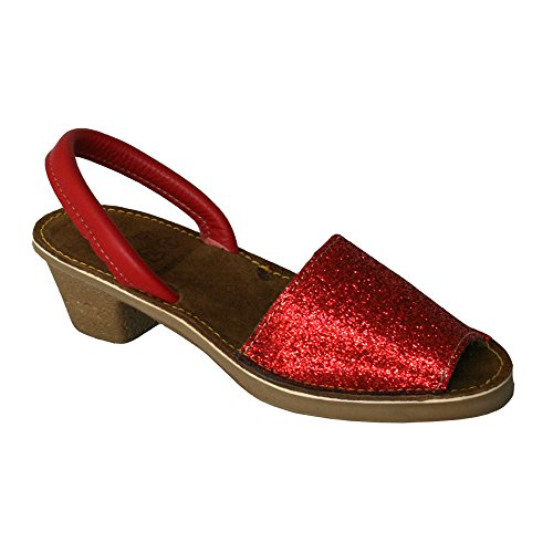 15010G - Sandalia ibicenca Glitter tacón Rojo 38
