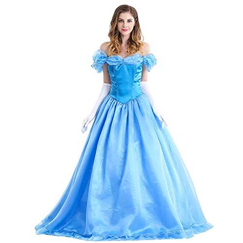 OwlFay Cinderella Kostüm Damen Prinzessin Karneval Faschingskostüm Cosplay Party Halloween Festkleid mit Handschuhen XL -