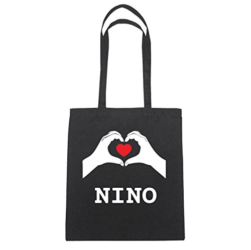 JOllify Nino di cotone felpato b5825 schwarz: New York, London, Paris, Tokyo schwarz: Hände Herz