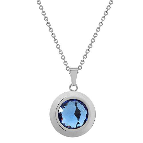 det Schmuck-Sets für Damen, Anhänger Halskette und Ohrringe Blau CZ Zirconia Blau (Karneval-perlen Großhandel)