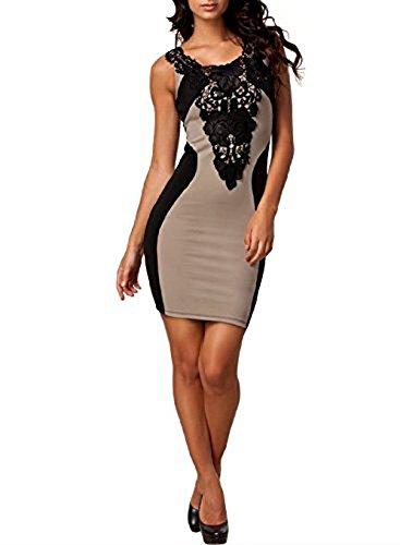Mesdames robe sexy robes robe de courroie extensible robe clubwear partie Frestlich 36-44 Beige