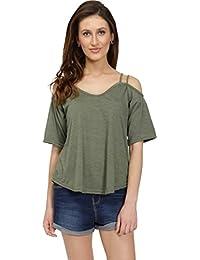 Chimpaaanzee Casual Shoulder Strap Solid Women Green Top