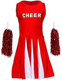 Girls Cheerleader Uniform Costume Cheerleading Dance Fancy Dress Outfit +Pom Poms