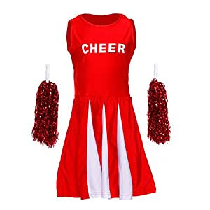 kinder maedchen gogo cheerleader kostuem uniform cheerleading mit pompoms f r karneval fasching. Black Bedroom Furniture Sets. Home Design Ideas