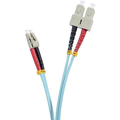 TPFNet 2,00m Cavo fibra ottica di qualità elevata   Cavo Patch a Fibra OM3 SC/LC (Multimode Duplex Lc Sc Fibra)