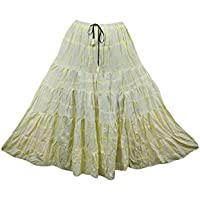 Mogul Interior Womens Retro Skirt Yellow Flare A-line Cotton Boho Hippie Maxi Skirts