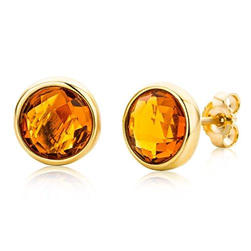 Miore Damen-Ohrstecker Ohrringe 9 Karat ( 375 ) Citrine Quartz 2.0 ct Gelbgold Quarz orange Rundschliff - MNA9043E (Ct Diamant-anhänger 2 1)