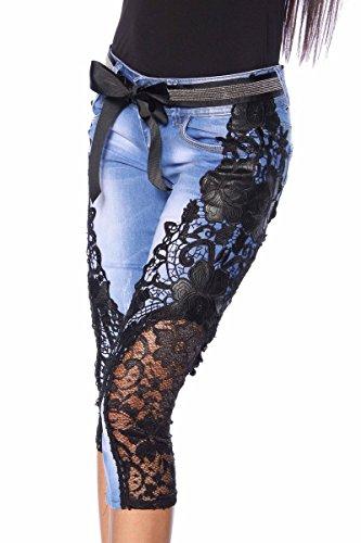 Capri Jeans Skinny mit aufwendiger Spitze und funkelndem Gürtel A13321 schwarz (Sw 16)