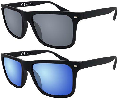 Sonnenbrille La Optica UV 400 Herren Sonnenbrille Eckig Nerd - Doppelpack Gummiert Schwarz (Gläser: 1 x Grau, 1 x Blau verspiegelt)