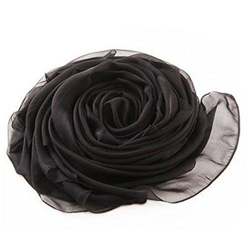 MEISHINE® 180*110cm Mujer 100% Seda Fular Pañuelo Bufanda Estola Chal Ideal for Evening Wedding Ceremony (Negro)