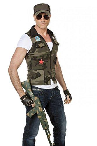 shoperama Herren-Shirt Army-Weste und Kappe, Größe:58