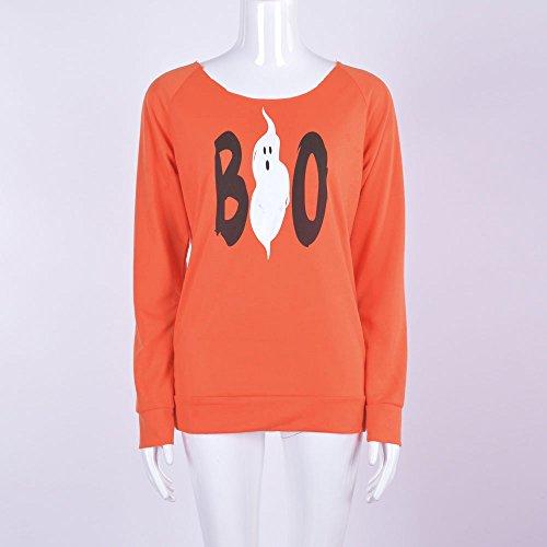 Vovotrade Halloween Femmes BOO Imprimé Longue Manche Tops Chemisier Chemise Décontractée T-shirt Orange