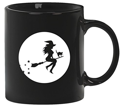 tüm Kaffeetasse Kaffeebecher mit Halloween - Hexe Motiv, Größe: onesize,Schwarz (Tasse Kaffee Halloween Kostüme)