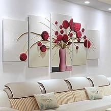 ZZZSYZXL 5pcs minimalista salón contexto del sofá de la pintura de cuadros en relieve tridimensionales