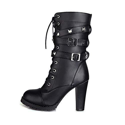LuckyGirls Botas Mujer Moteras Botines Remaches Moda Botas Casual Calzado Zapatillas con Cordones Zapatos de Tacón 10cm